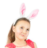 Little girl in Easter bunny ears Stock Photos
