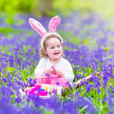 Little girl at easter egg hunt Royalty Free Stock Images