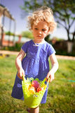 Little Girl on an Easter Egg hunt Royalty Free Stock Photography