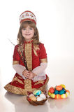 Little Girl with Easter eggs stock photography