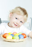 Little girl with Easter eggs. Portrait of little girl with Easter eggs Royalty Free Stock Images