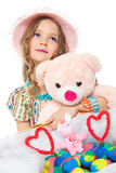 Little girl and easter eggs Royalty Free Stock Photo