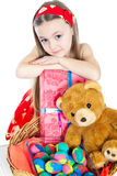 Little girl and easter eggs Royalty Free Stock Images