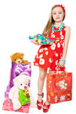 Little girl and easter eggs. Cute little girls with Easter eggs and gifts Royalty Free Stock Photos