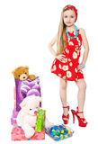 Little girl and easter eggs. Cute little girls with Easter eggs and gifts Royalty Free Stock Images