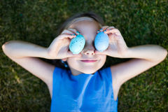Little girl with Easter eggs Royalty Free Stock Images