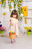 Little girl in easter interior Stock Photography