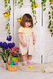 Little girl in easter interior Royalty Free Stock Photography