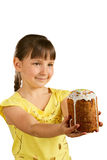 Little girl and Easter pie Stock Photography