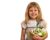 Little girl with Easter rabbit Stock Photos