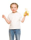 Little girl eat banana Royalty Free Stock Images