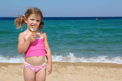 Little girl eat ice cream Royalty Free Stock Photography