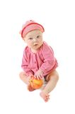 Little girl eat ripe red apple Stock Photo