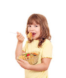 Little girl eat spaghetti Royalty Free Stock Images