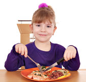 Little girl eating. A healthy lunch Stock Photos