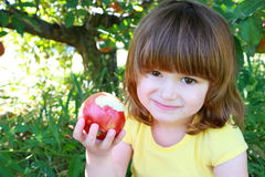 Little girl eating apple Stock Images