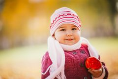 Little girl eating apple in autumn Royalty Free Stock Image