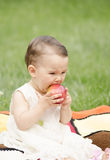 Little girl eating an apple. Cute and healthy girl eating an healthy apple Royalty Free Stock Photography