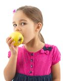 Little Girl Eating Apple Isolated On White Background Stock Images