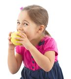 Little Girl Eating Apple Isolated On White Background Stock Photography