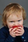 Little girl eating an apple Stock Image