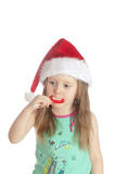 Little girl eating candy  lollipops Stock Images