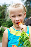 Little girl eating carrot Stock Photo