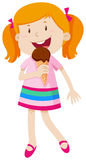 Little girl eating chocolate ice-cream Royalty Free Stock Photography