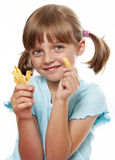Little girl eating a french fries Royalty Free Stock Image