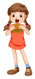 Little girl eating hamburger Royalty Free Stock Photography