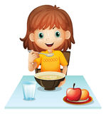 A little girl eating her breakfast. Illustration of a little girl eating her breakfast on a white background Royalty Free Stock Photography