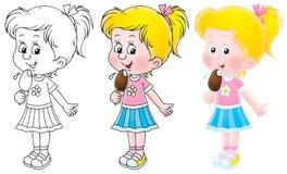 Little girl eating an ice cream. Little girl eats an ice cream (3 versions of the illustration Stock Image