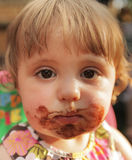 Little girl after eating ice cream Royalty Free Stock Photos
