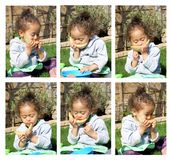 Little girl eating melon collage Stock Image