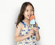 Little Girl Eating Papercraft Icecream Stock Images