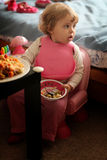 Little girl eating pasta Royalty Free Stock Images