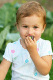 A little girl eating plum. Outside royalty free stock photography