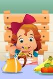 Little Girl Eating Salad Vegetables Stock Photo