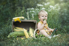 Little girl eating self grown cucumber. On the backyard Stock Photography