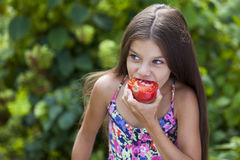 Little girl eating a slice of tomato. Portrait of a beautiful Little girl eating a slice of tomato on the background of summer park Royalty Free Stock Photography