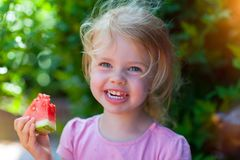 Eating a water melon royalty free stock photos
