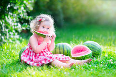 Free Little Girl Eating Watermelon Royalty Free Stock Images - 42302539