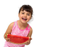 Little girl eating watermelon Royalty Free Stock Image