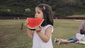 Little girl eating watermelon slice outdoors stock video footage