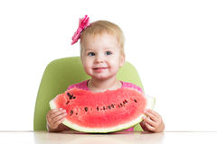 Little girl eating watermelon at table Royalty Free Stock Photo