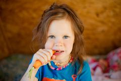 Little girl eats a carrot royalty free stock photo