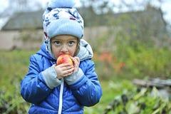 The little girl eats red apple Stock Photo
