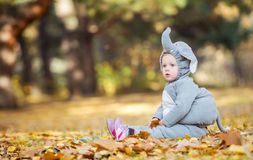 Little girl in elephant costume playing in autumn forest Stock Image