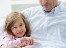 Little girl embraced by father Royalty Free Stock Photo