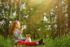 Little girl embracing his dog and blowing dandelion. Royalty Free Stock Image
